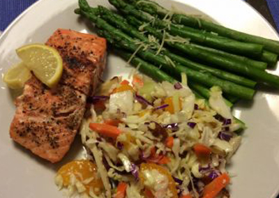 Mesquite smoked grilled salmon dinner